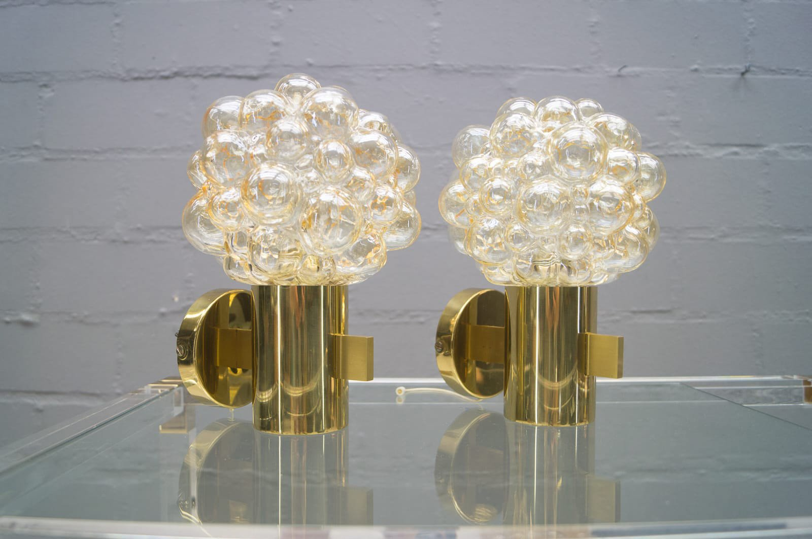 Golden Wall Lamps : Golden Bubble Glass Wall Lamps by Helena Tynell for Limburg, 1960s, Set of 2 for sale at Pamono