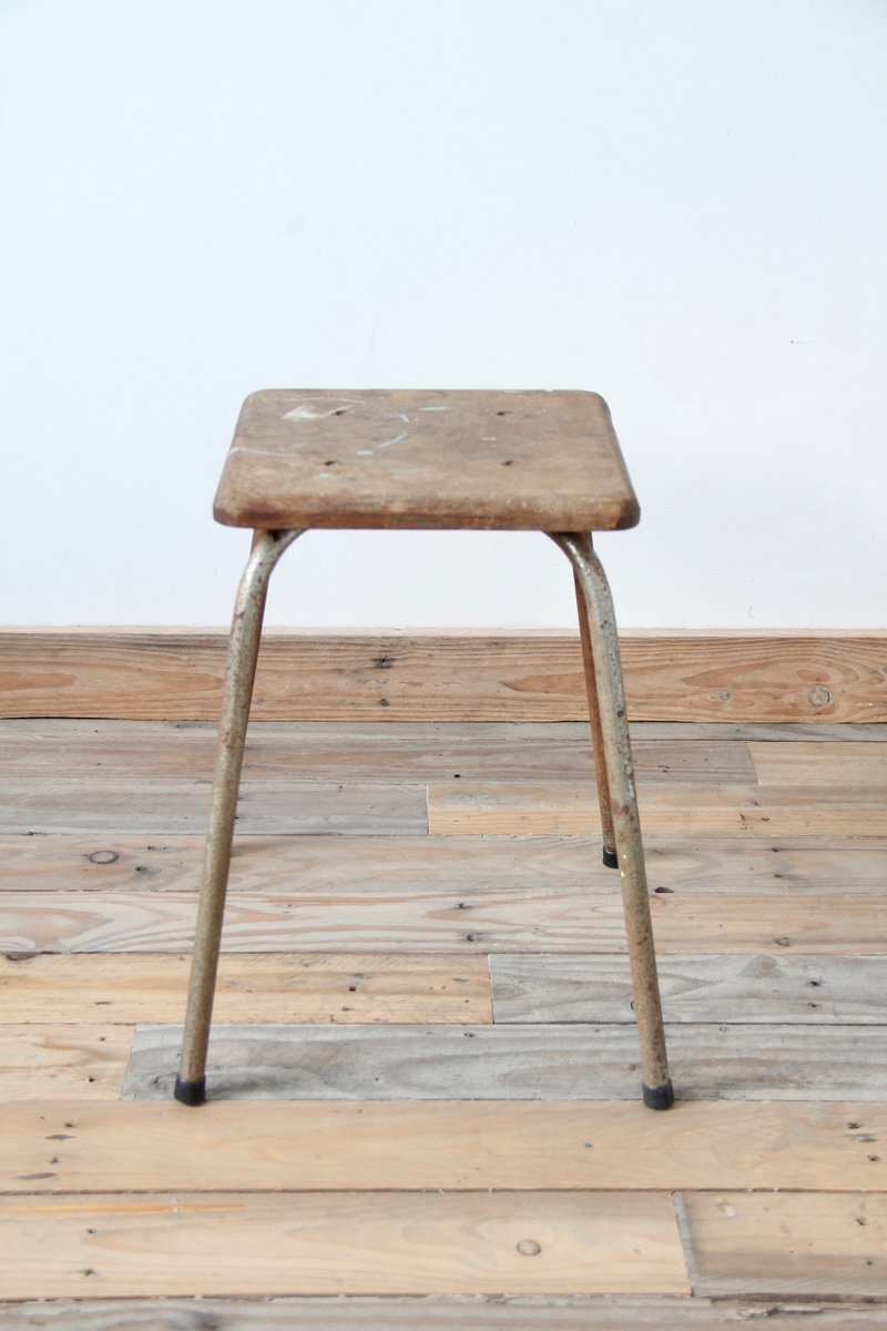 Vintage industrial stool with wooden seat for sale at pamono