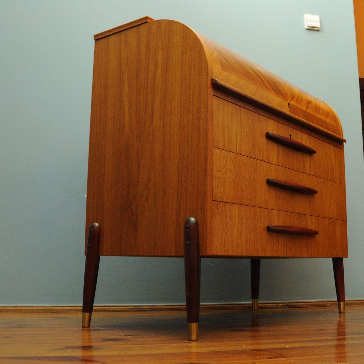 schwedischer mid century teak sekret r mit rollt rfach bei. Black Bedroom Furniture Sets. Home Design Ideas