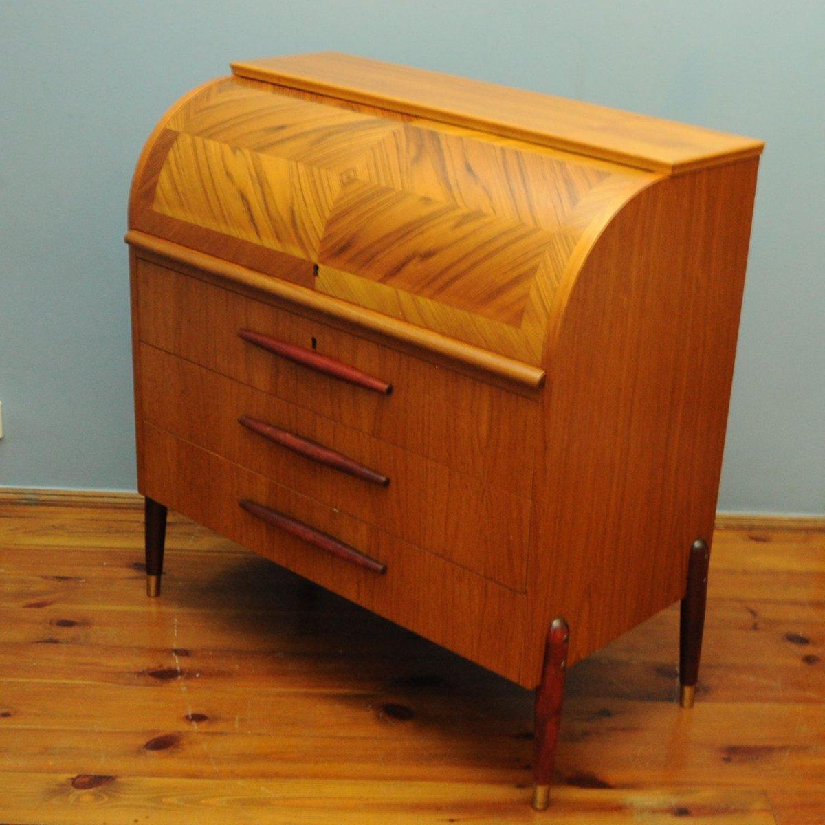 schwedischer mid century teak sekret r mit rollt rfach bei pamono kaufen. Black Bedroom Furniture Sets. Home Design Ideas