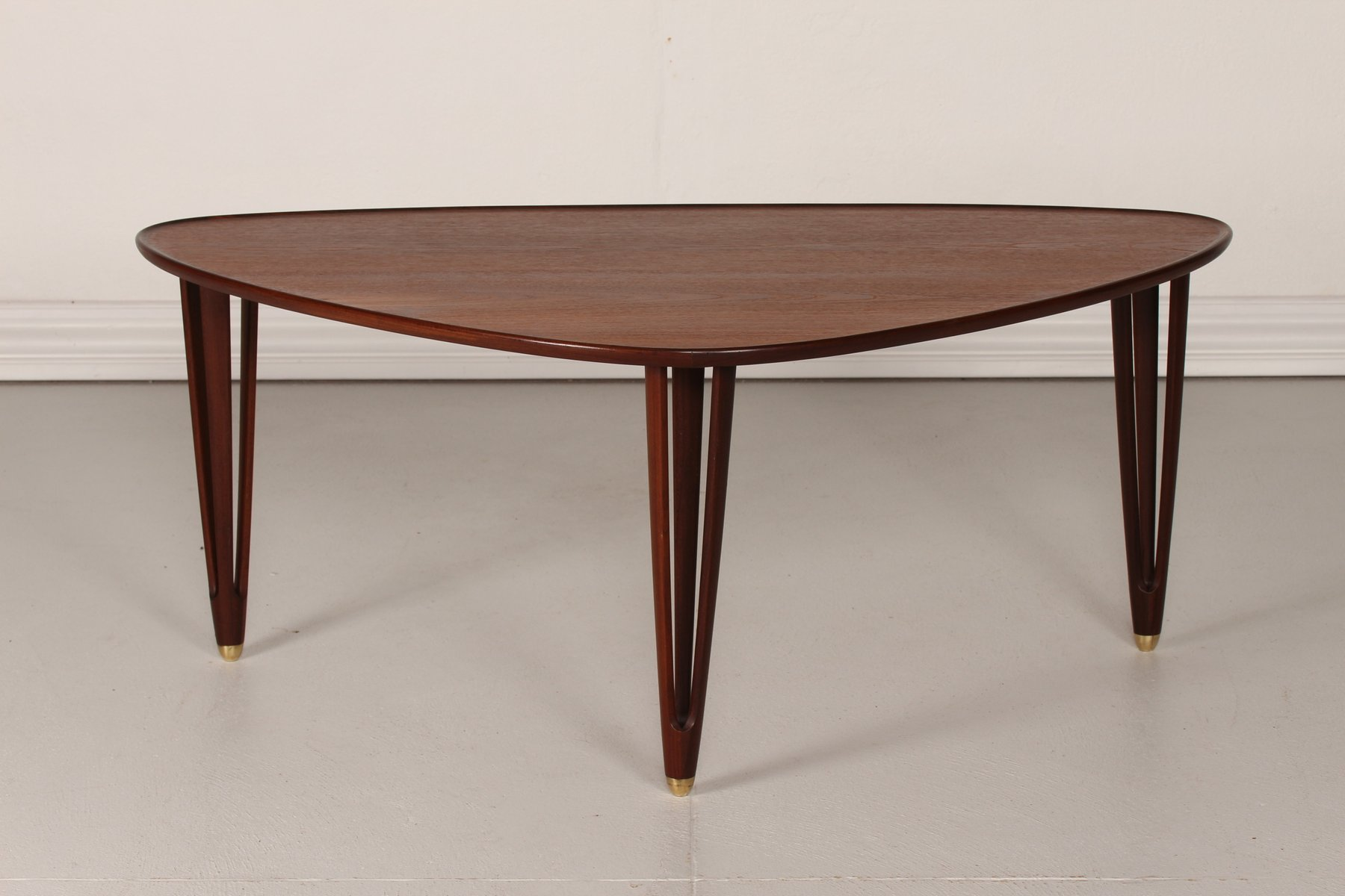 Vintage Danish Triangular Coffee Table In Teak 1950s For Sale At Pamono