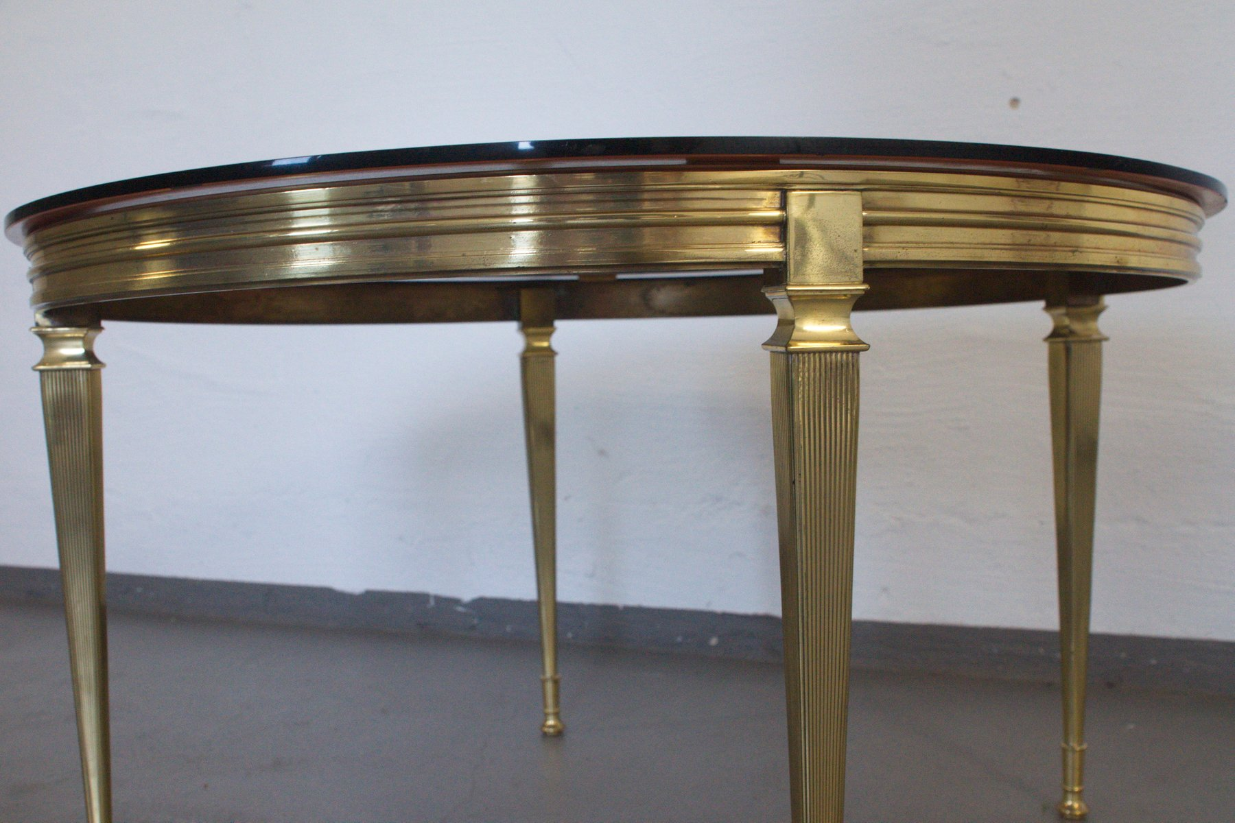 Vintage Italian Brass & Glass Coffee Table 1960s for sale at Pamono