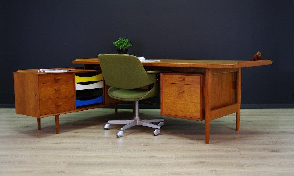 vintage teak schreibtisch mit sideboard von arne vodder f r sibast bei pamono kaufen. Black Bedroom Furniture Sets. Home Design Ideas