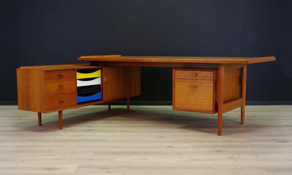Vintage teak desk with sideboard by arne vodder for sibast for Sideboard 1m breit