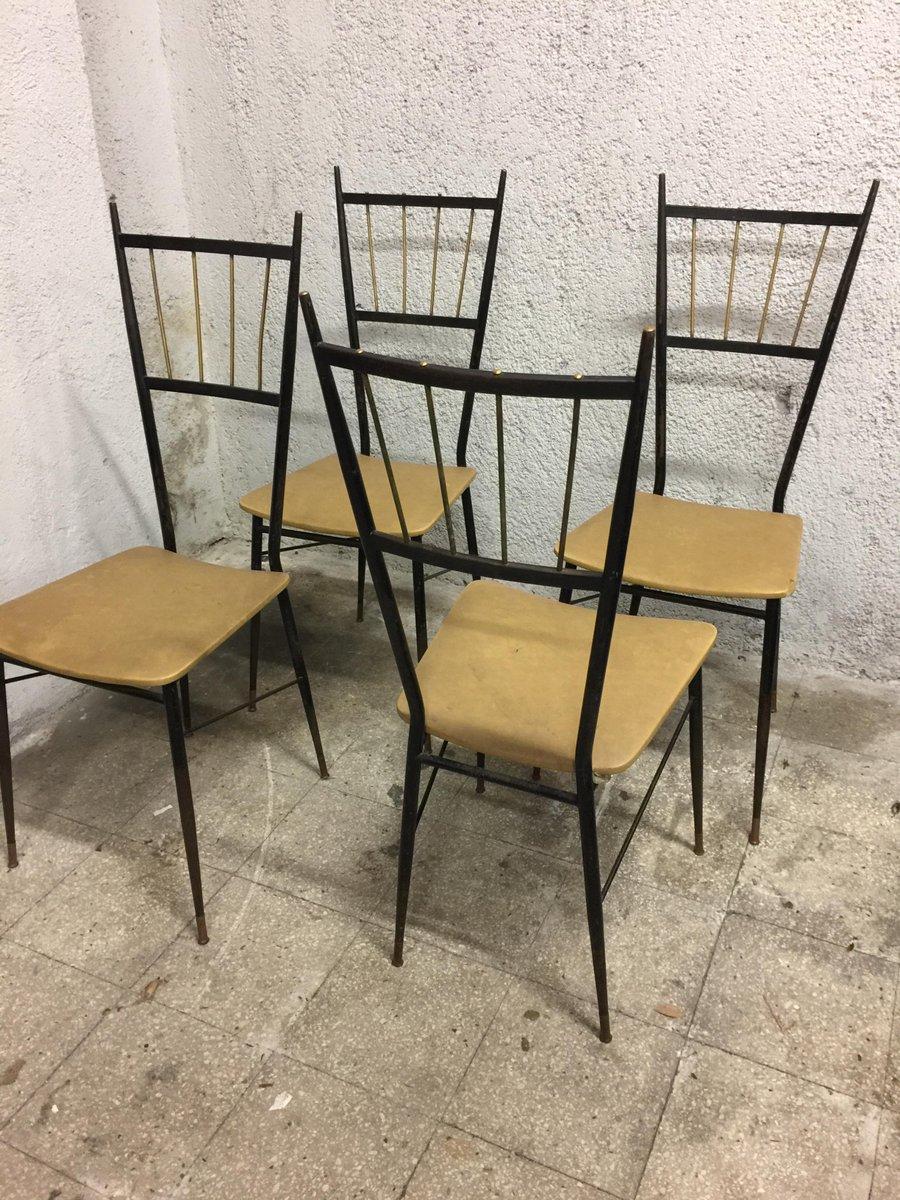 italienische esszimmerst hle 1950er 4er set bei pamono. Black Bedroom Furniture Sets. Home Design Ideas