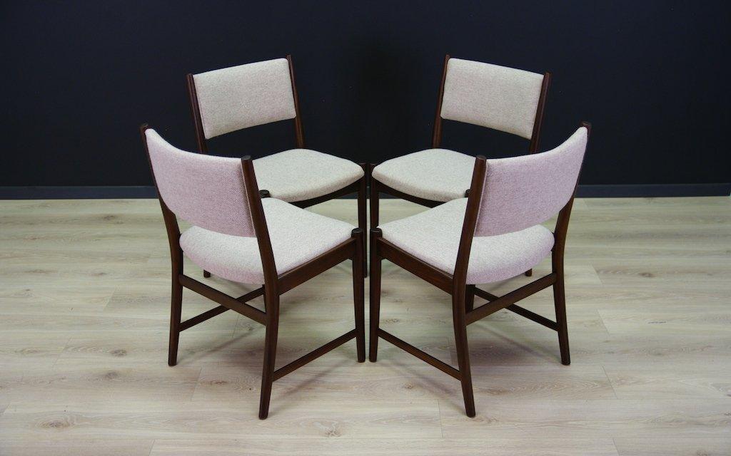 skandinavische mid century mahagoni st hle 4er set bei. Black Bedroom Furniture Sets. Home Design Ideas