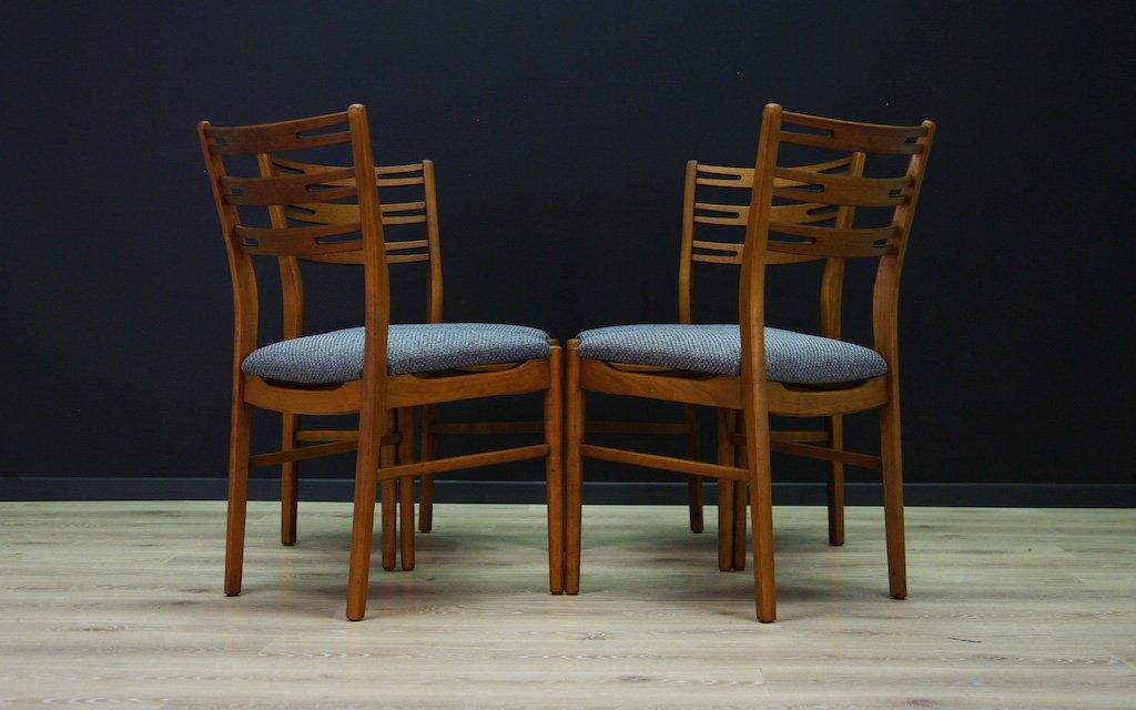 Mid Century Beech Chairs, Set Of 4