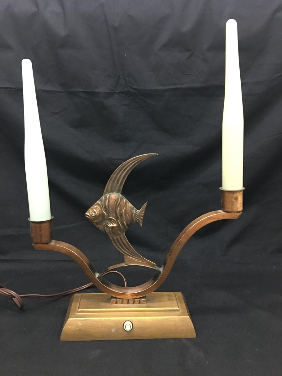 French Art Deco Copper Table Lamp