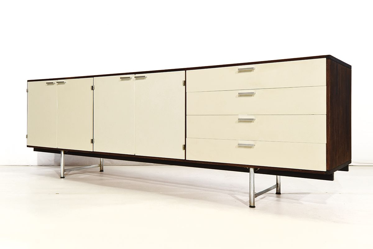 wei es lackiertes mid century wenge sideboard von cees. Black Bedroom Furniture Sets. Home Design Ideas