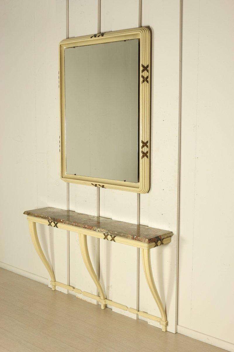 This italian circular wooden wall mirror is no longer available - Midcentury Italian Wood U0026 Marble Console U0026 Mirror