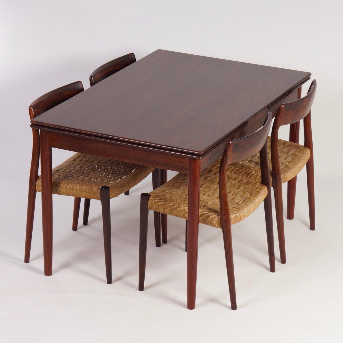 d nischer ausziehbarer palisander esstisch 1960er bei. Black Bedroom Furniture Sets. Home Design Ideas