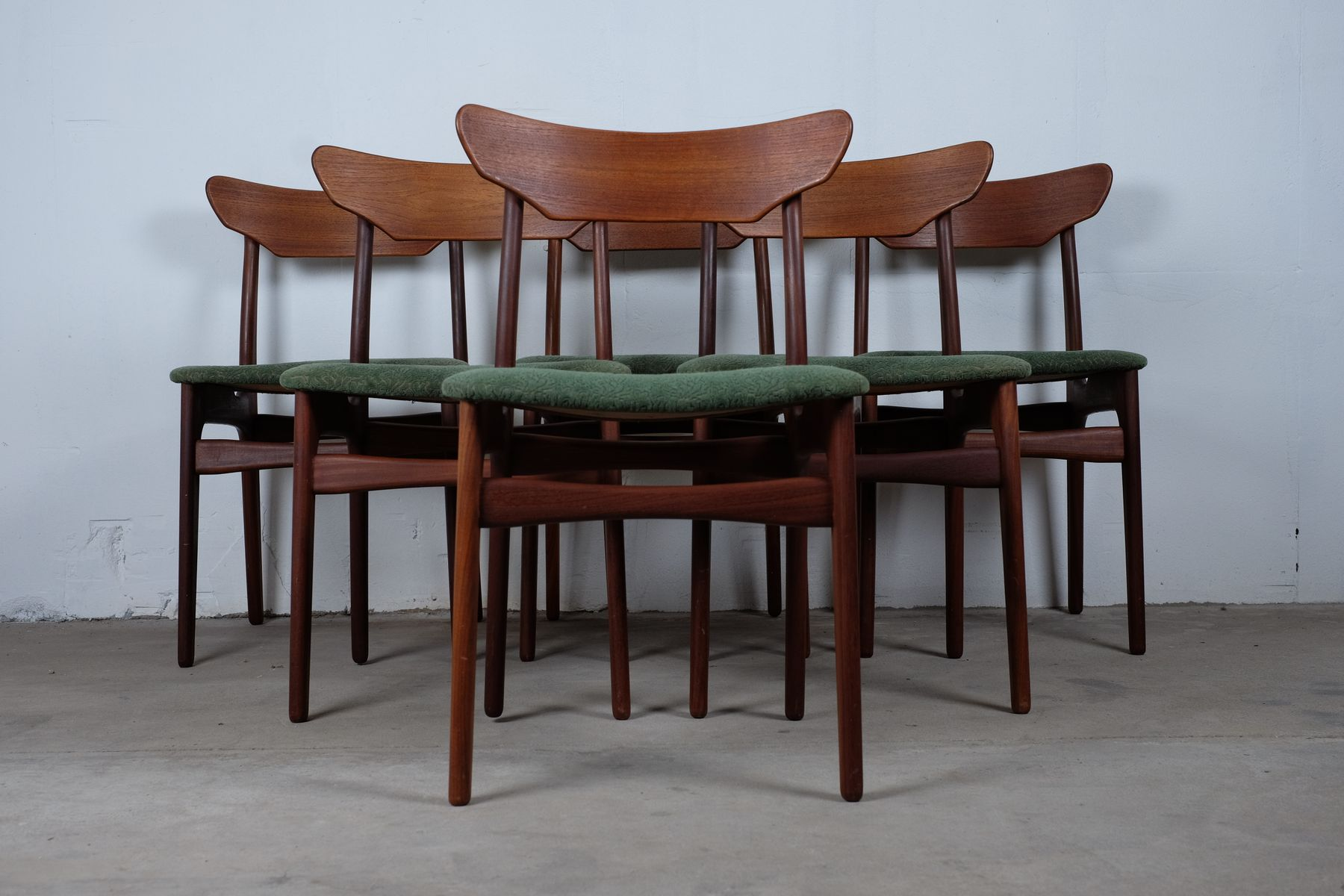 teak dining chairs by scha ning elgaard 1960s set of 6 for sale