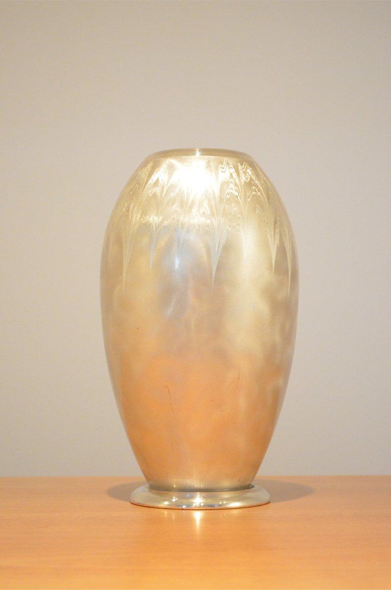 german art deco brushed metal ikora vase from wmf for sale. Black Bedroom Furniture Sets. Home Design Ideas