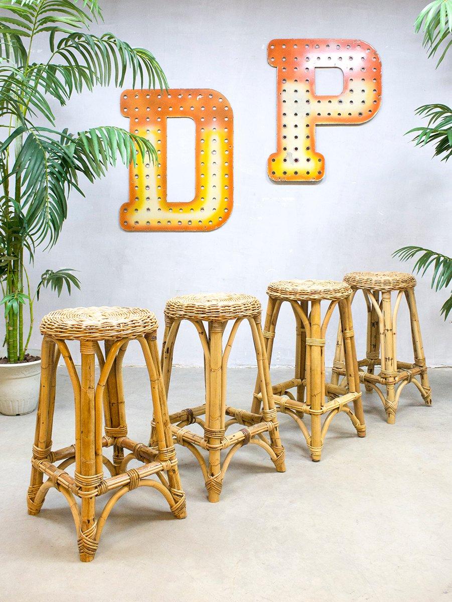 tabourets de bar vintage en rotin de roh noordwolde en vente sur pamono. Black Bedroom Furniture Sets. Home Design Ideas