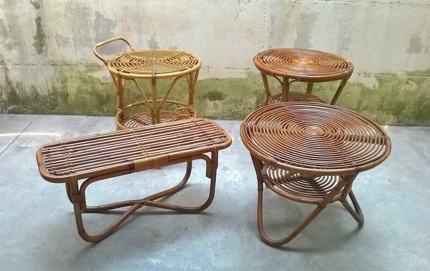 niedrige italienische rattan tische von pierantonio bonacina 1950er 4er set bei pamono kaufen. Black Bedroom Furniture Sets. Home Design Ideas