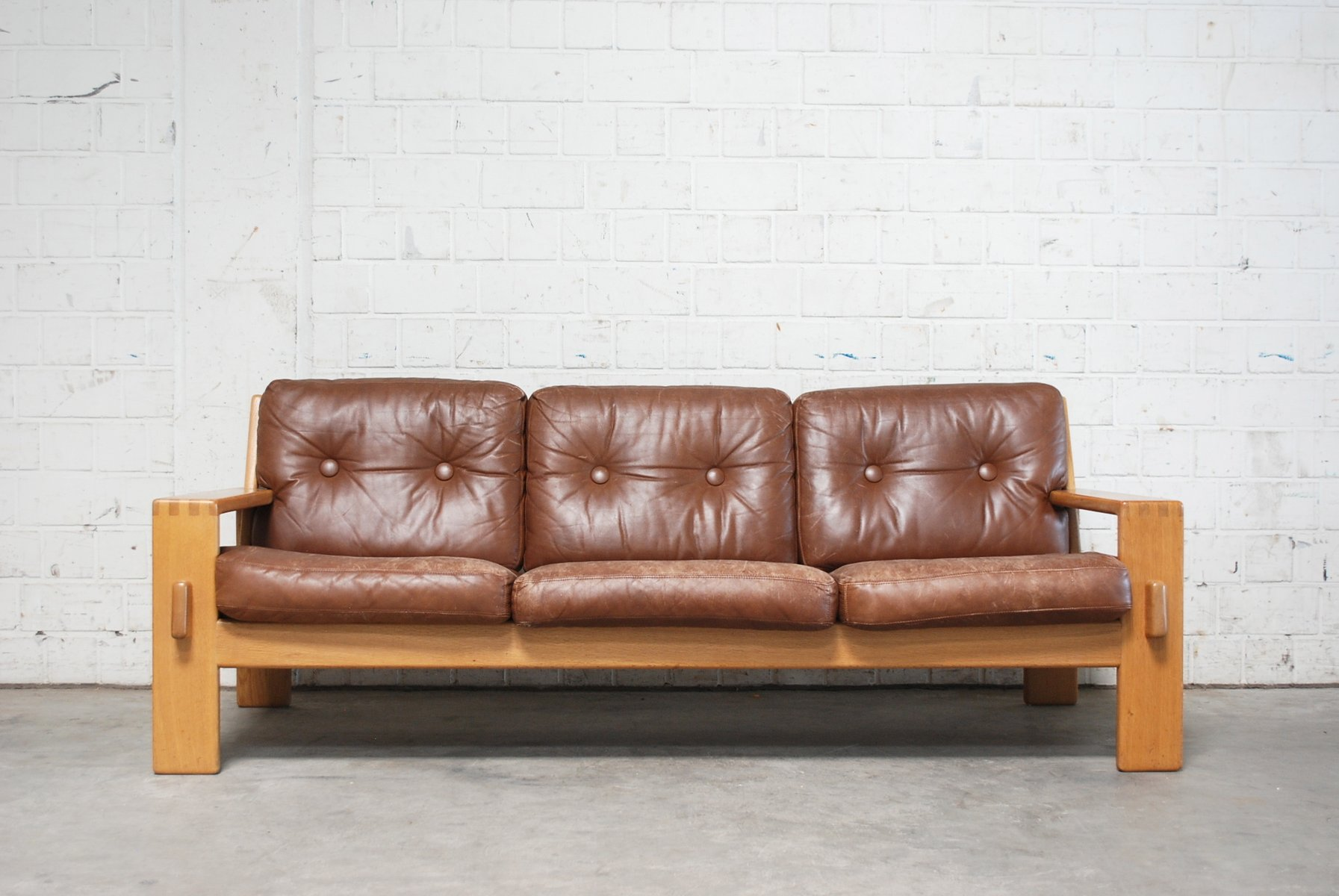 vintage bonanza cognac brown leather sofa by esko pajamies for asko for sale at pamono. Black Bedroom Furniture Sets. Home Design Ideas