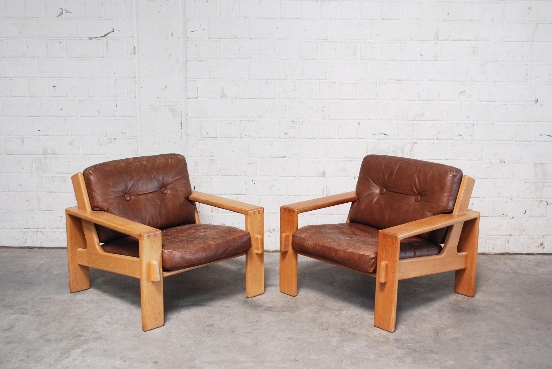 Delightful Vintage Bonanza Cognac Brown Leather Armchairs By Esko Pajamies For Asko,  Set Of 2