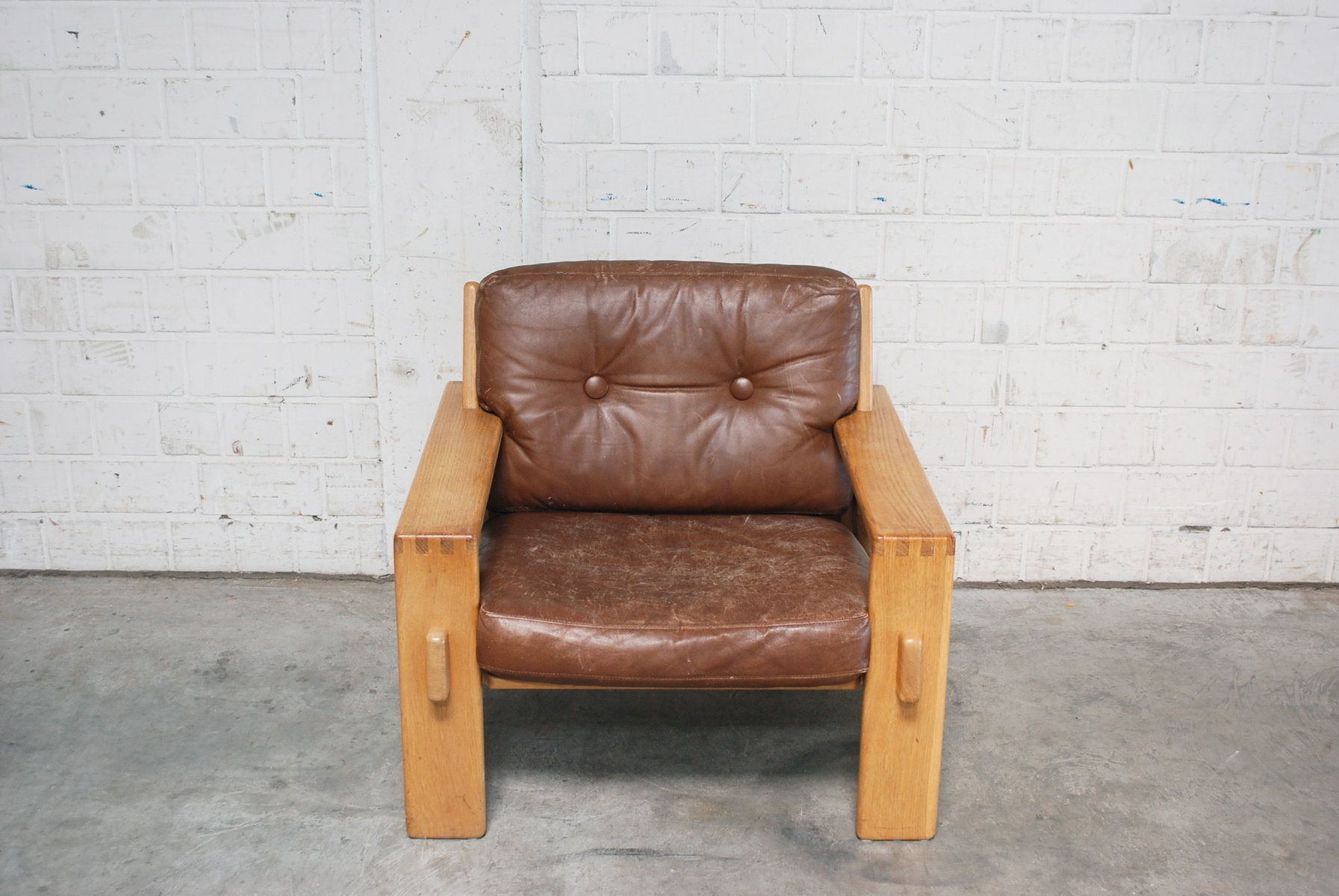 vintage bonanza armlehnst hle mit cognacfarbenem leder von. Black Bedroom Furniture Sets. Home Design Ideas