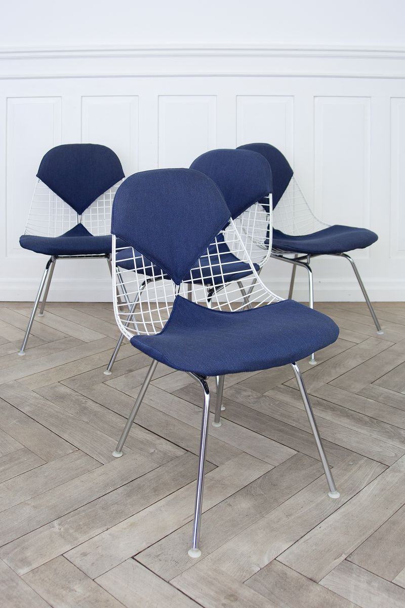 Chair wire chairs missing cover - Bikini Wire Chairs By Charles Ray Eames For Herman Miller 1950s Set Of 4