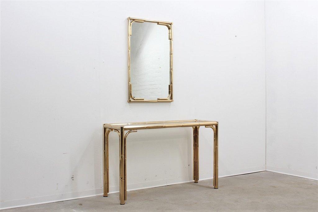 table console et miroir vintage en faux bambou et laiton en vente sur pamono. Black Bedroom Furniture Sets. Home Design Ideas