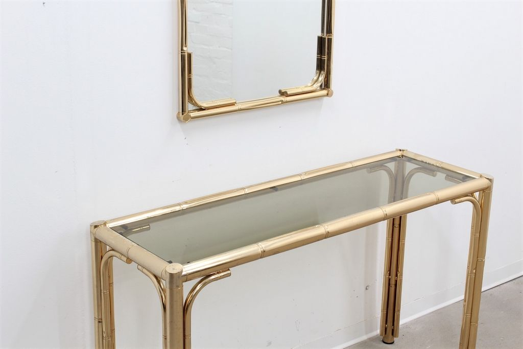 Vintage Faux Bamboo Brass Console U0026 Mirror