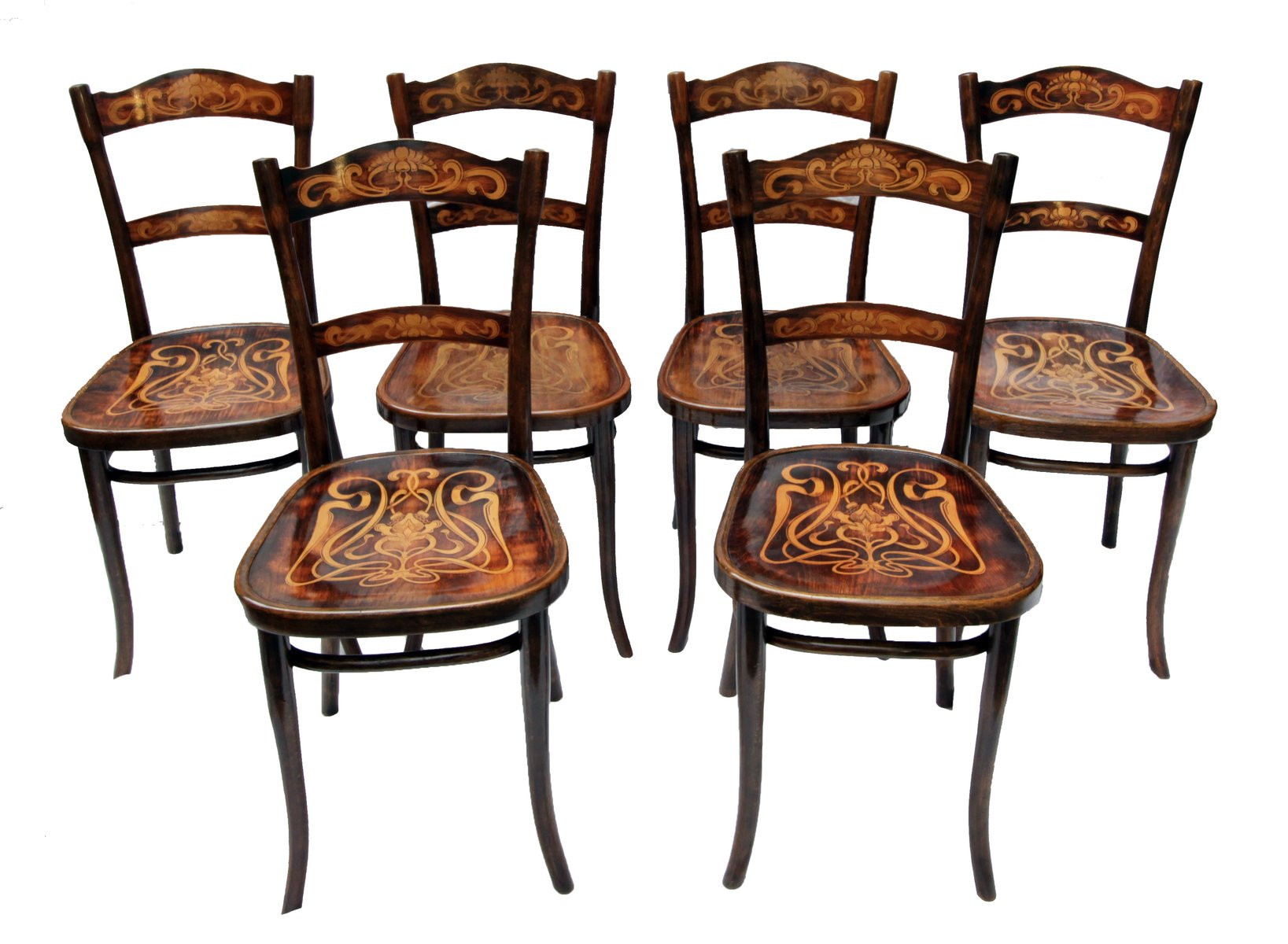 Antique Decorated Bentwood Dining Chairs from Thonet Set of 6 for