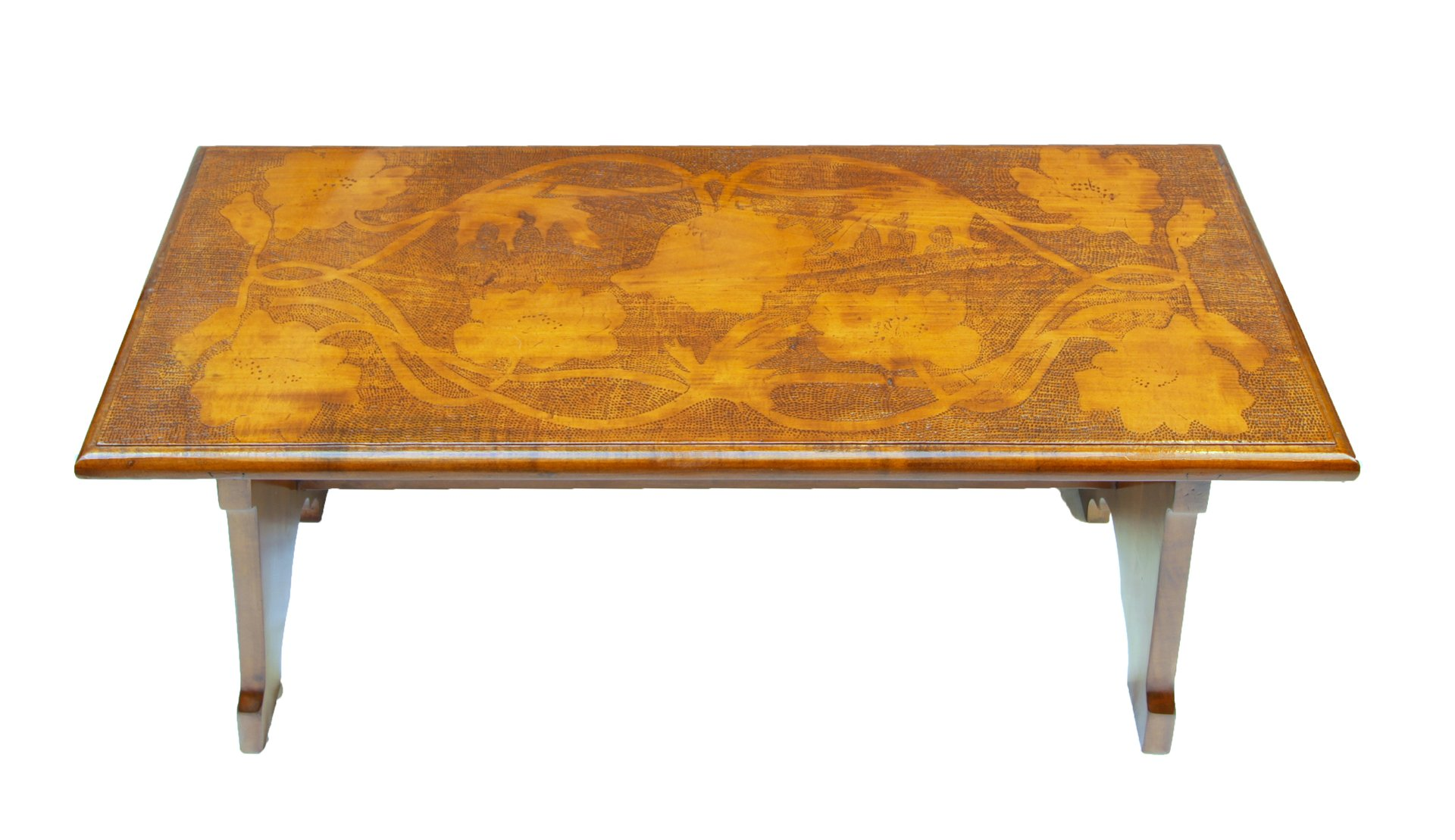 Art Nouveau Small German Pear Wood Bench With Floral Reliefs For Sale At Pamono