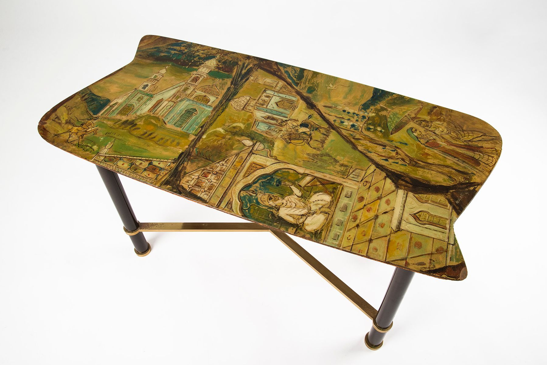 Hand Painted Italian Coffee Table by Gruppo Decalage 1956 for