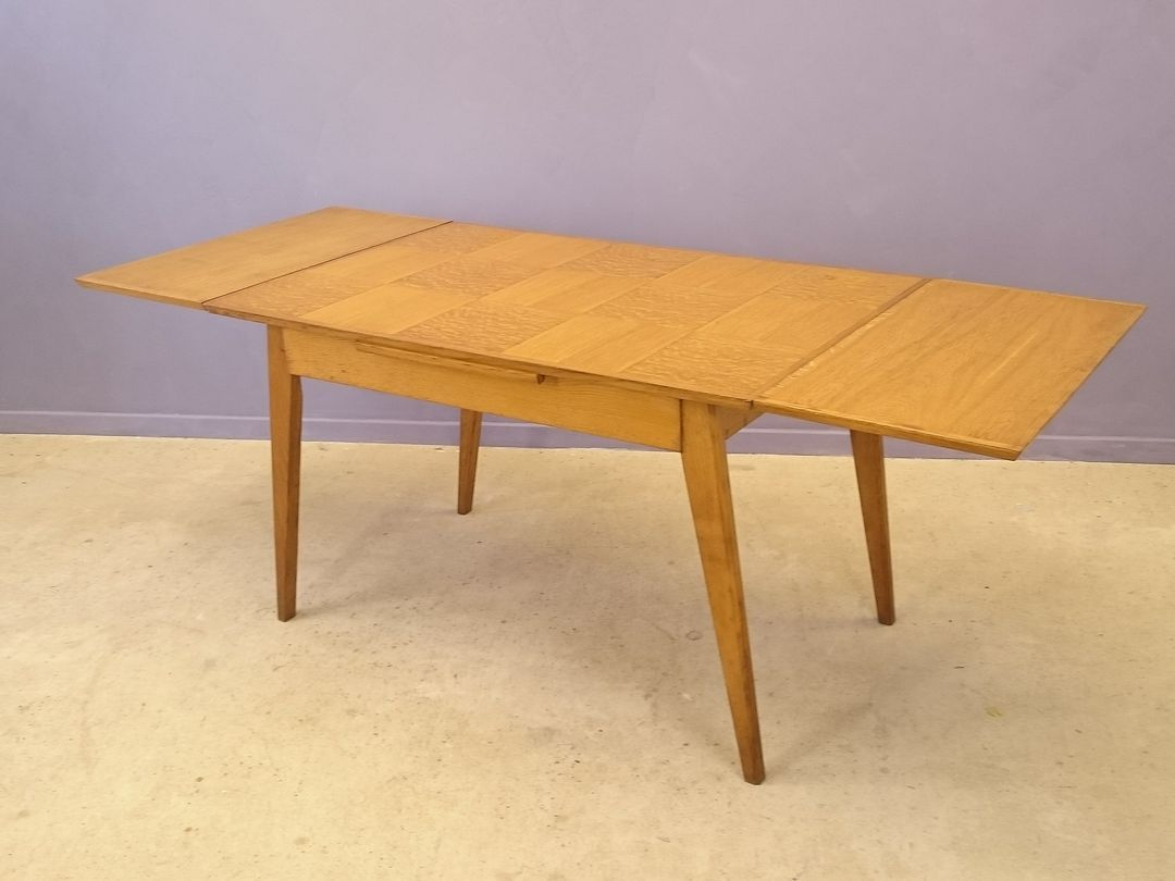 Vintage oak marquetry extendable dining table for sale at pamono - Oak extendable dining table ...