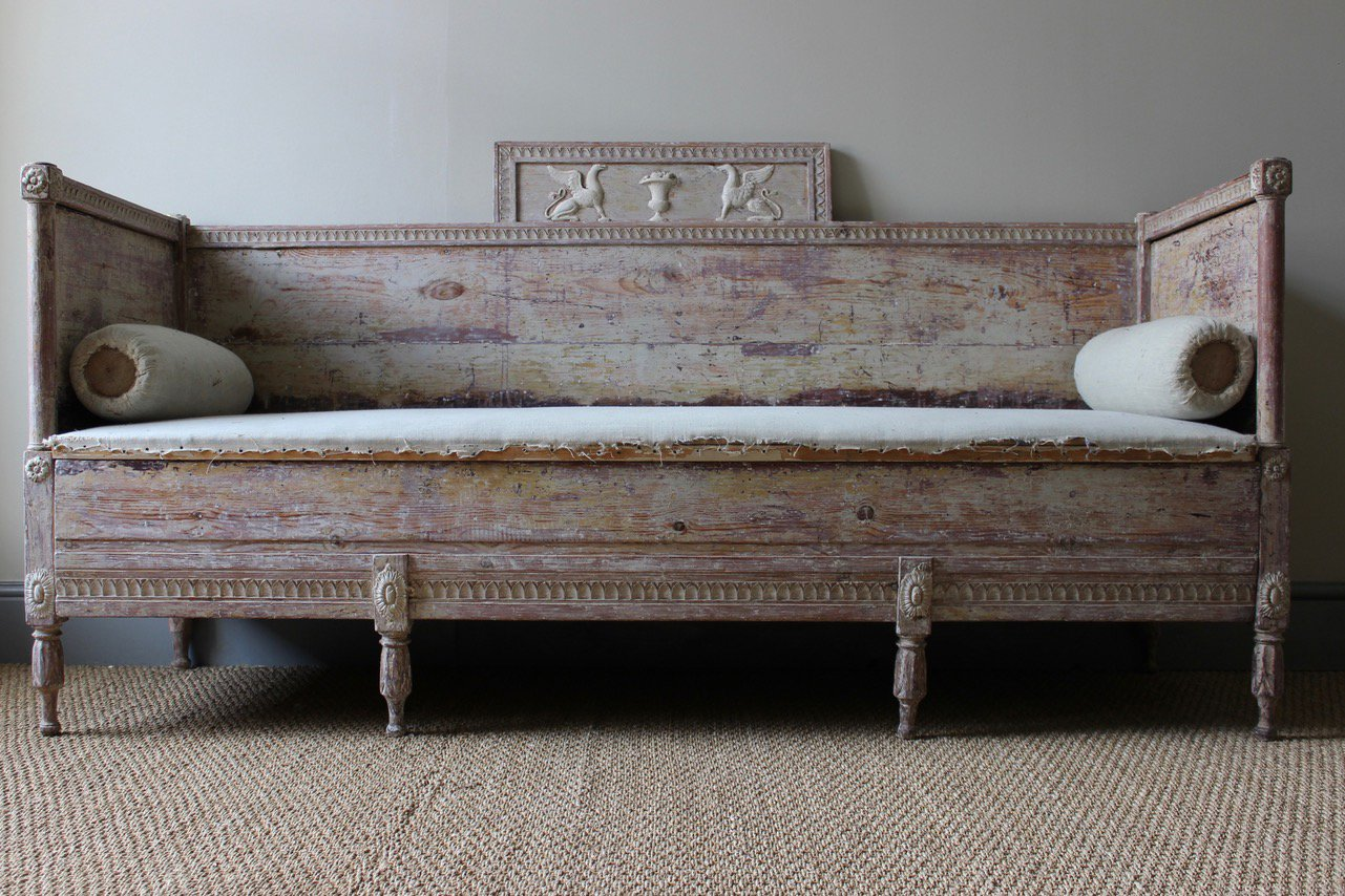 Antique Gustavian Swedish Painted Bench For Sale At Pamono