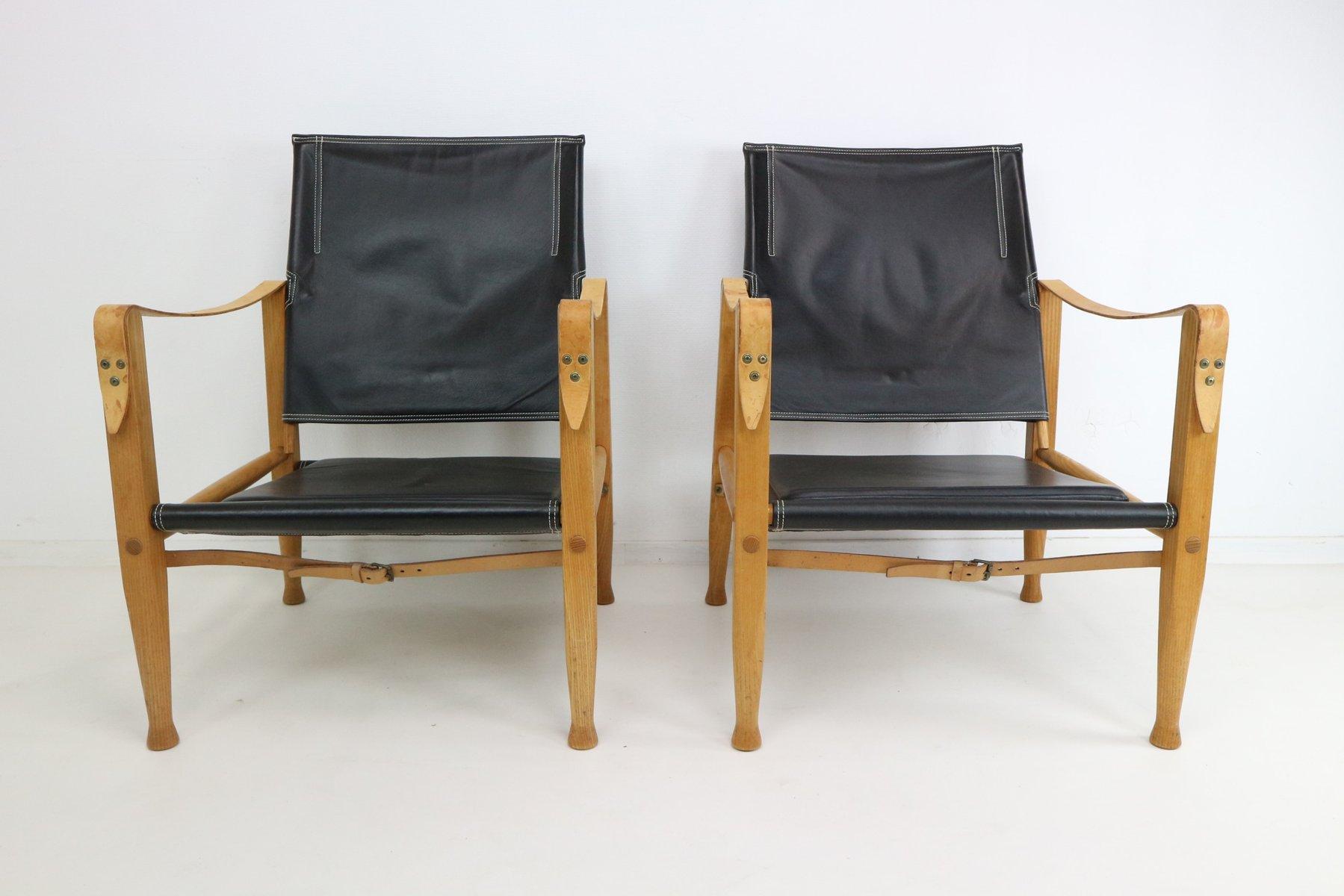 schwarze leder safari armlehnst hle von kaare klint f r. Black Bedroom Furniture Sets. Home Design Ideas