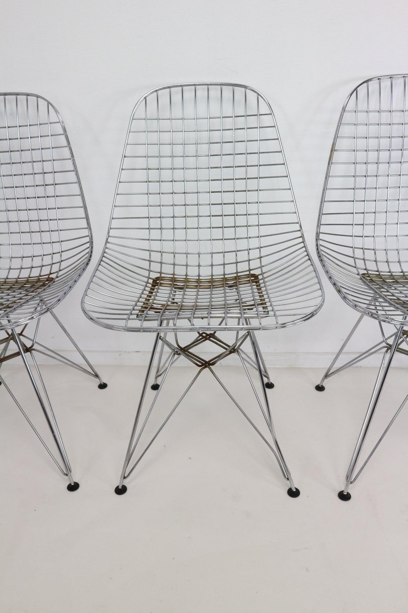 Chair wire chairs missing cover - Dkr Eiffel Base Wire Chairs By Charles Ray Eames For Vitra Set Of 5