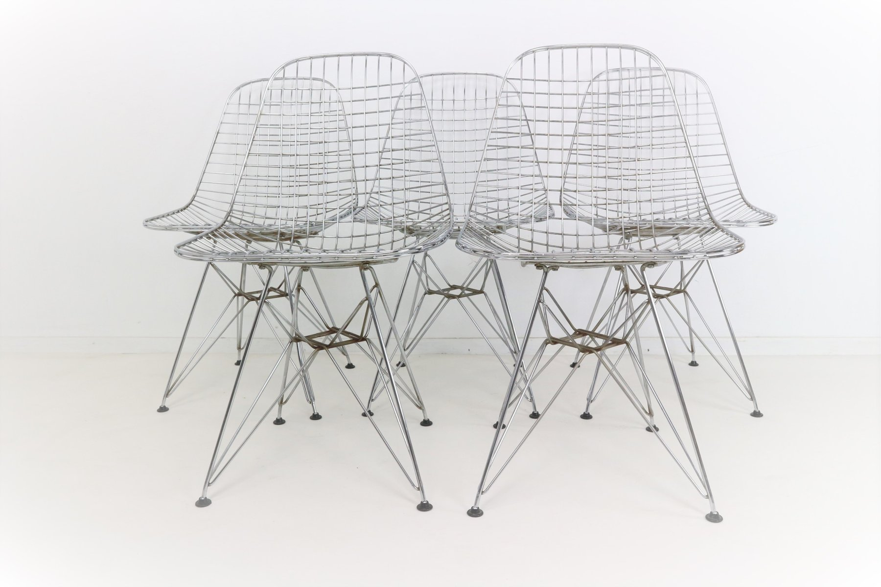 DKR Eiffel Base Wire Chairs by Charles & Ray Eames for Vitra Set