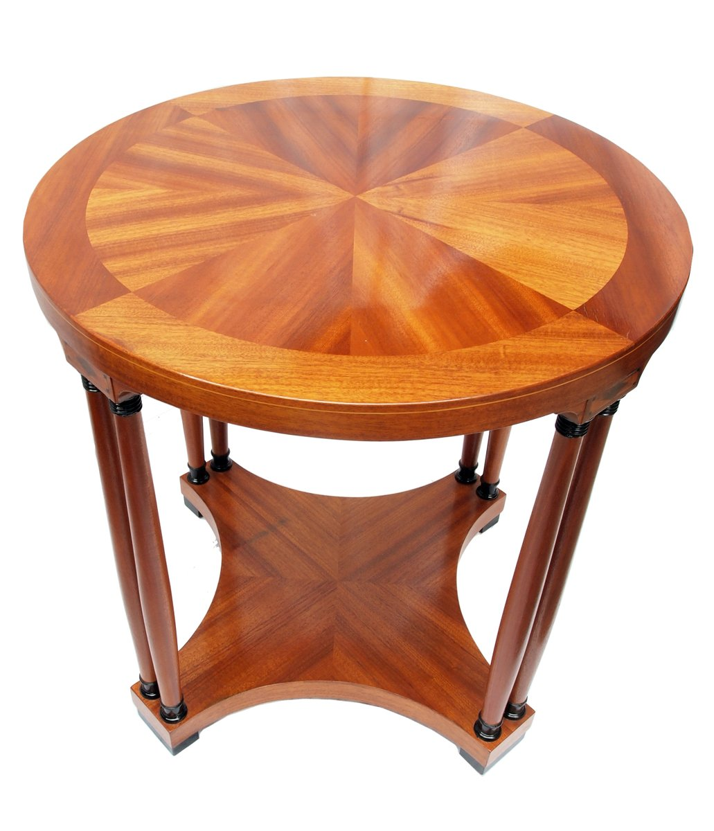 Art Nouveau Mahogany Veneer Round Side Table For Sale At