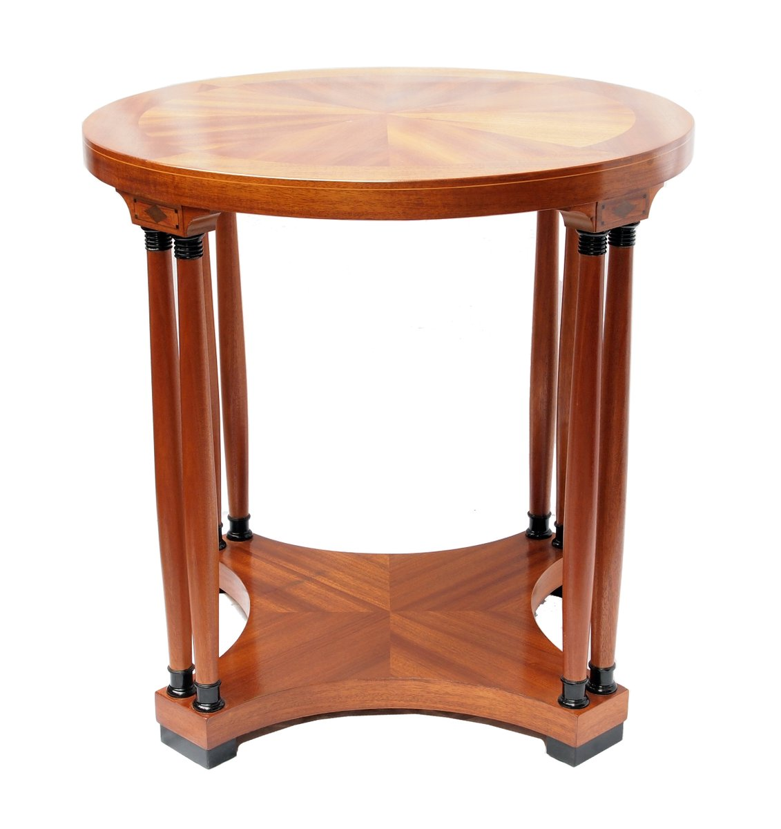 Art Nouveau Mahogany Veneer Round Side Table for sale at Pamono