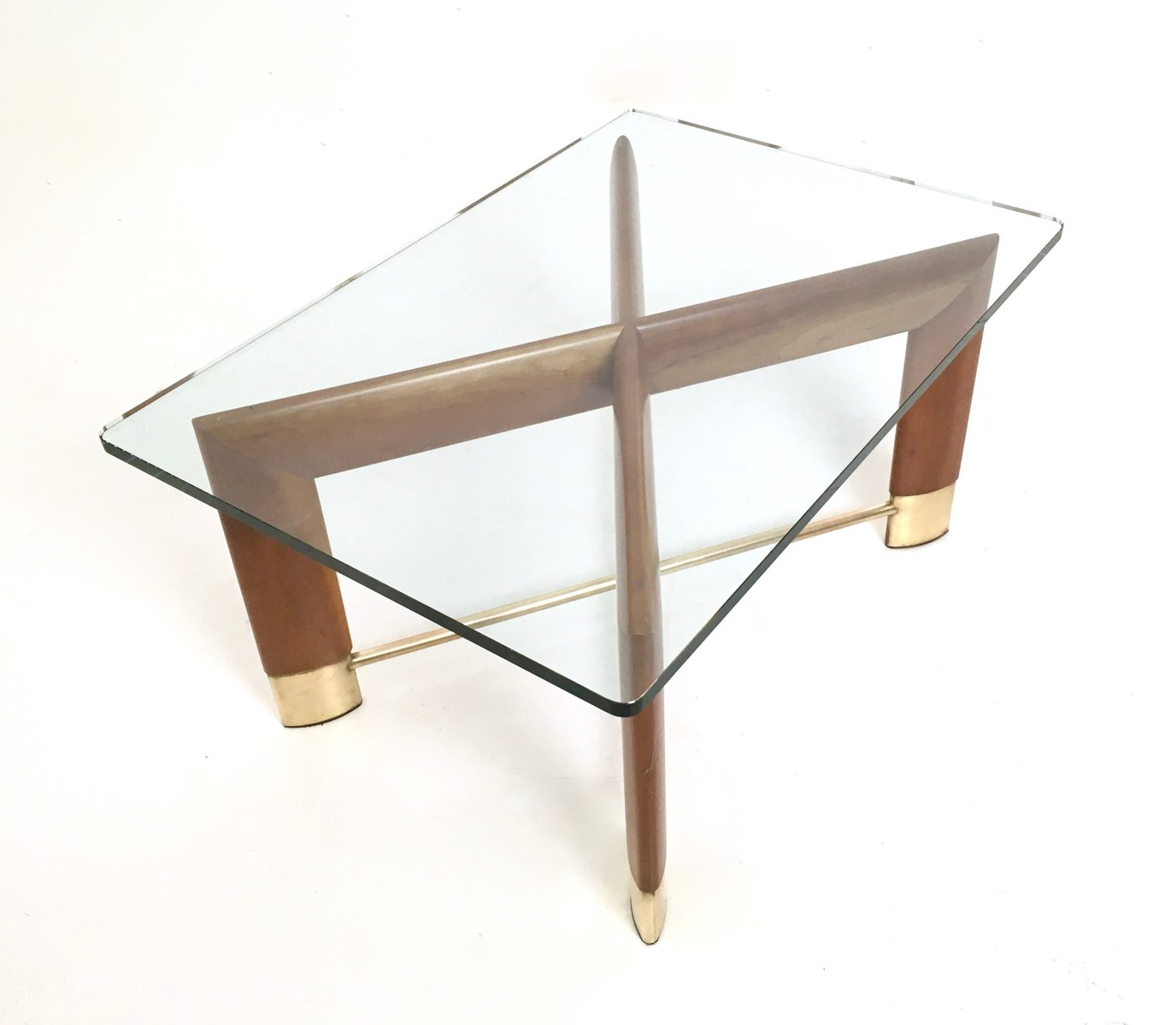 Italian Walnut Glass Coffee Table 1970s For Sale At Pamono