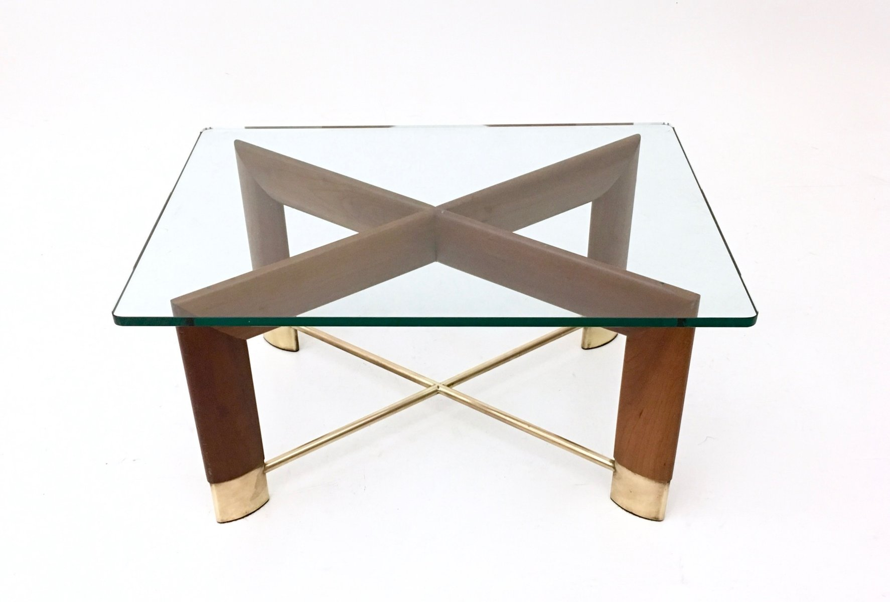 Italian Walnut & Glass Coffee Table 1970s for sale at Pamono