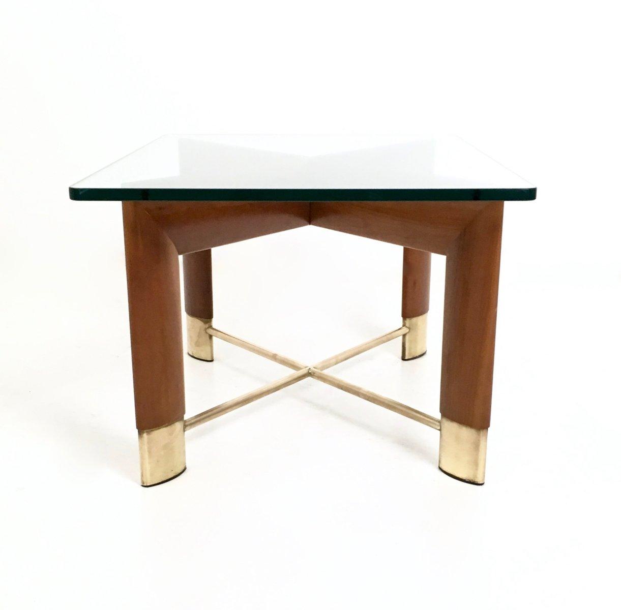 italienischer couchtisch aus nussholz glas 1970er bei. Black Bedroom Furniture Sets. Home Design Ideas