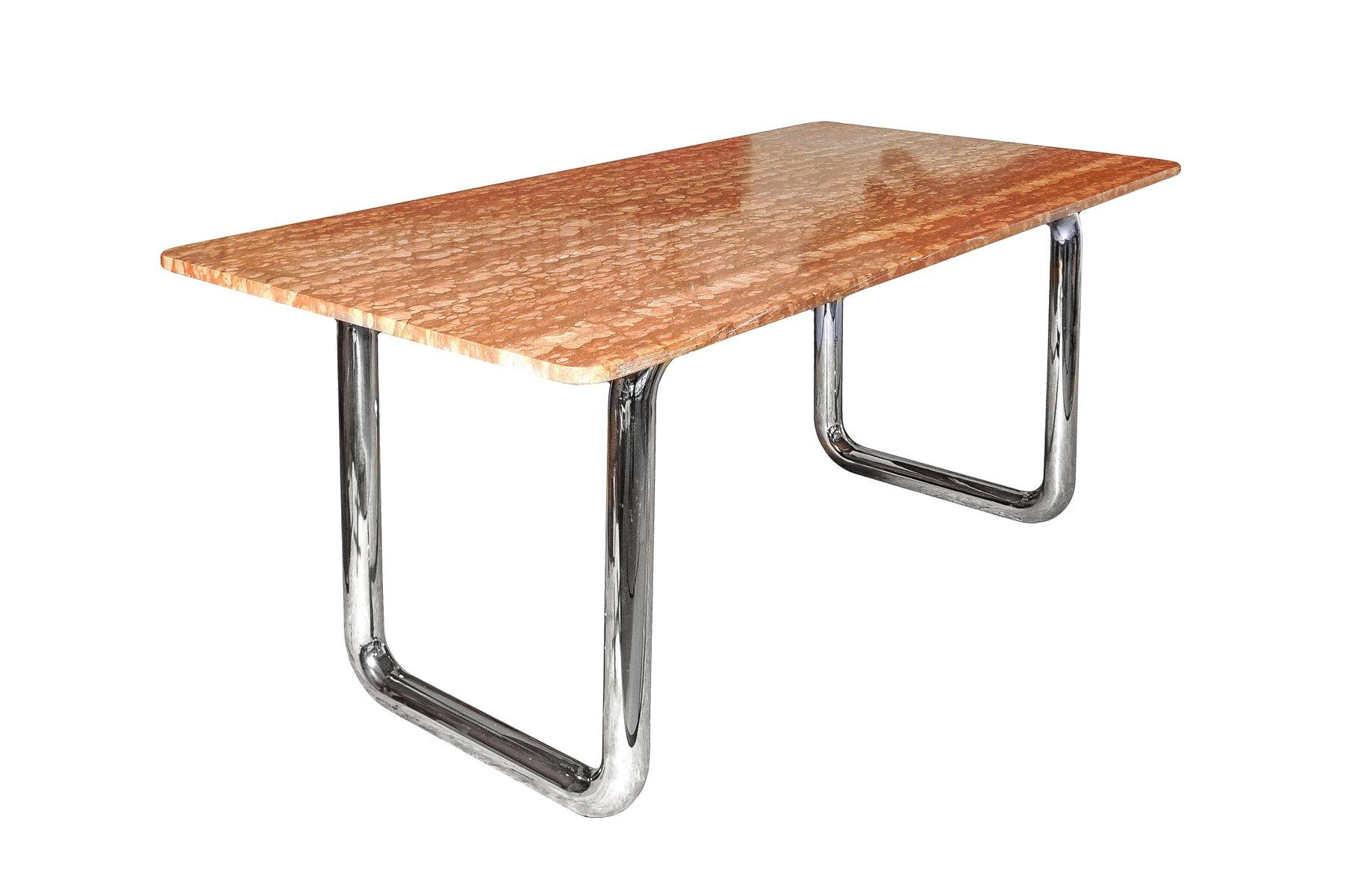 modernistischer tisch mit veroneser marmor tischplatte. Black Bedroom Furniture Sets. Home Design Ideas
