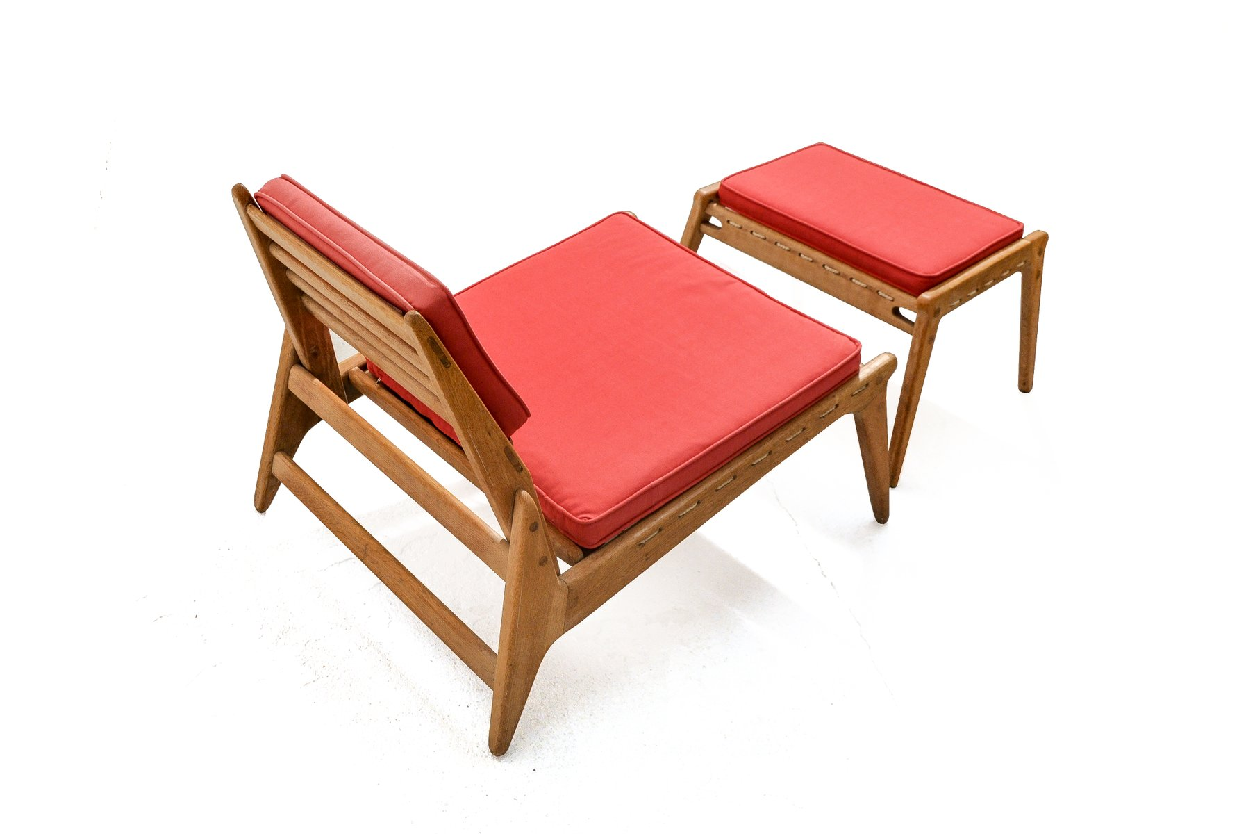 Vintage Hunting Chair and Ottoman in Oak for sale at Pamono