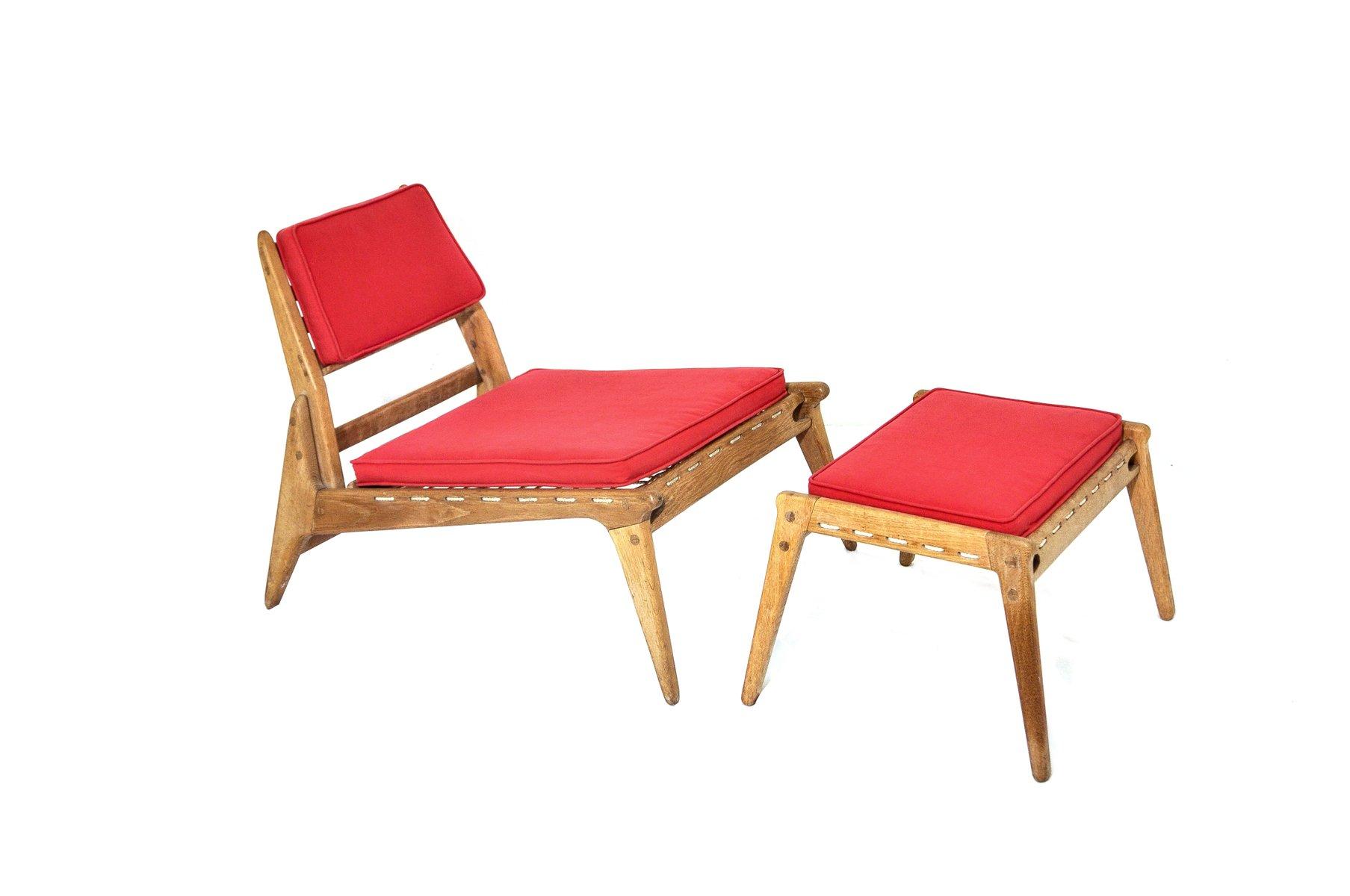 vintage stuhl und ottoman aus eichenholz bei pamono kaufen. Black Bedroom Furniture Sets. Home Design Ideas