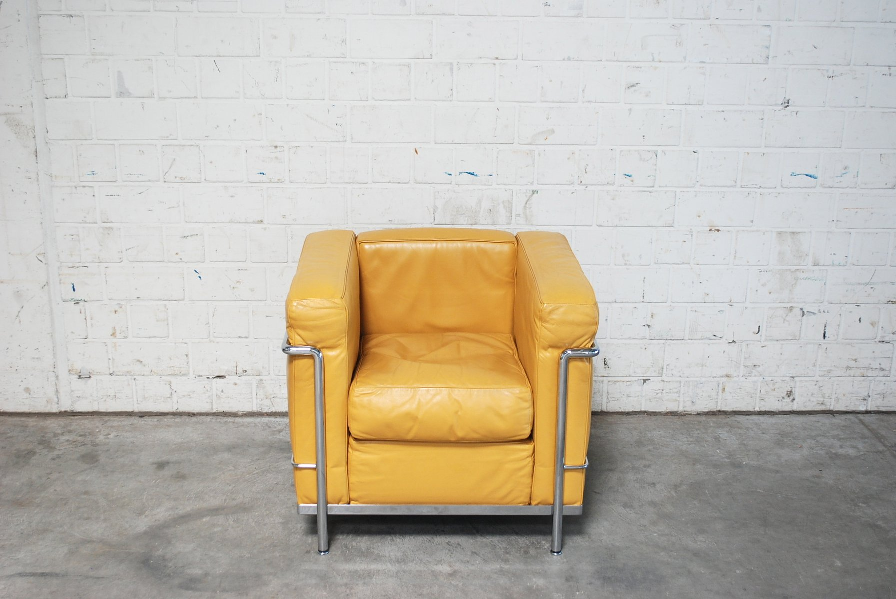 Vintage Yellow Model Lc2 Leather Chair By Le Corbusier For