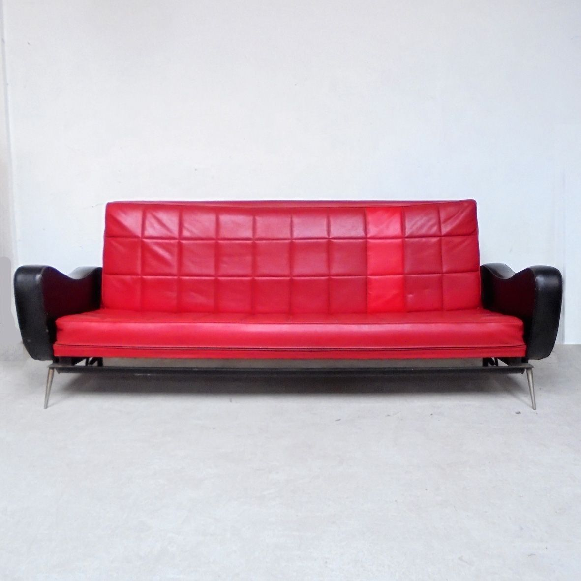 Vintage black and red skai sofa bed 1950s for sale at pamono for Sofa bed 50s
