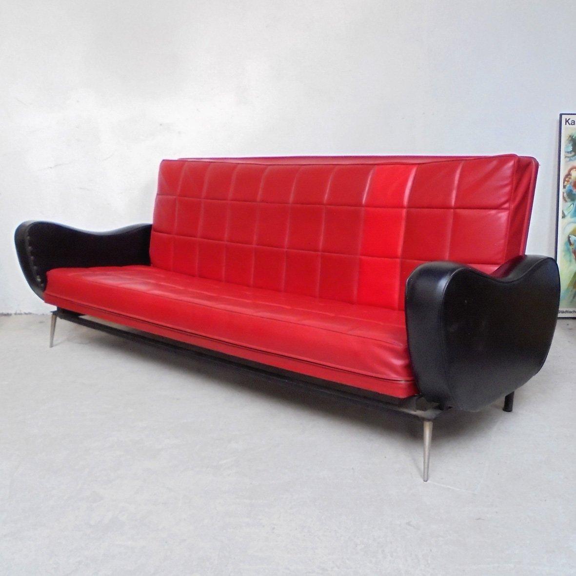 Vintage skai schlafsofa in schwarz rot 1950er bei for Schlafsofa retro