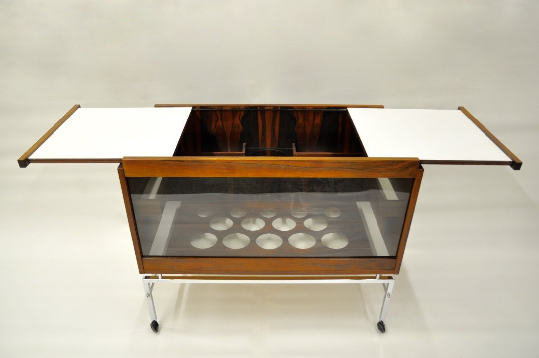 Mid Century Bar Cart With Extendable Table Leaves For Sale At Pamono