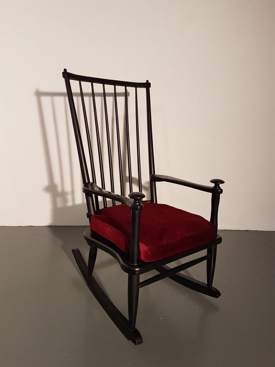 Sedia a dondolo vintage nera belgia anni 39 60 in vendita - Sedia a dondolo ...