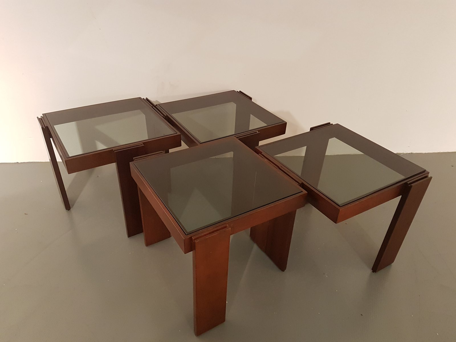Wengé Nesting Tables from Porada Arredi 1970s Set of 4 for sale