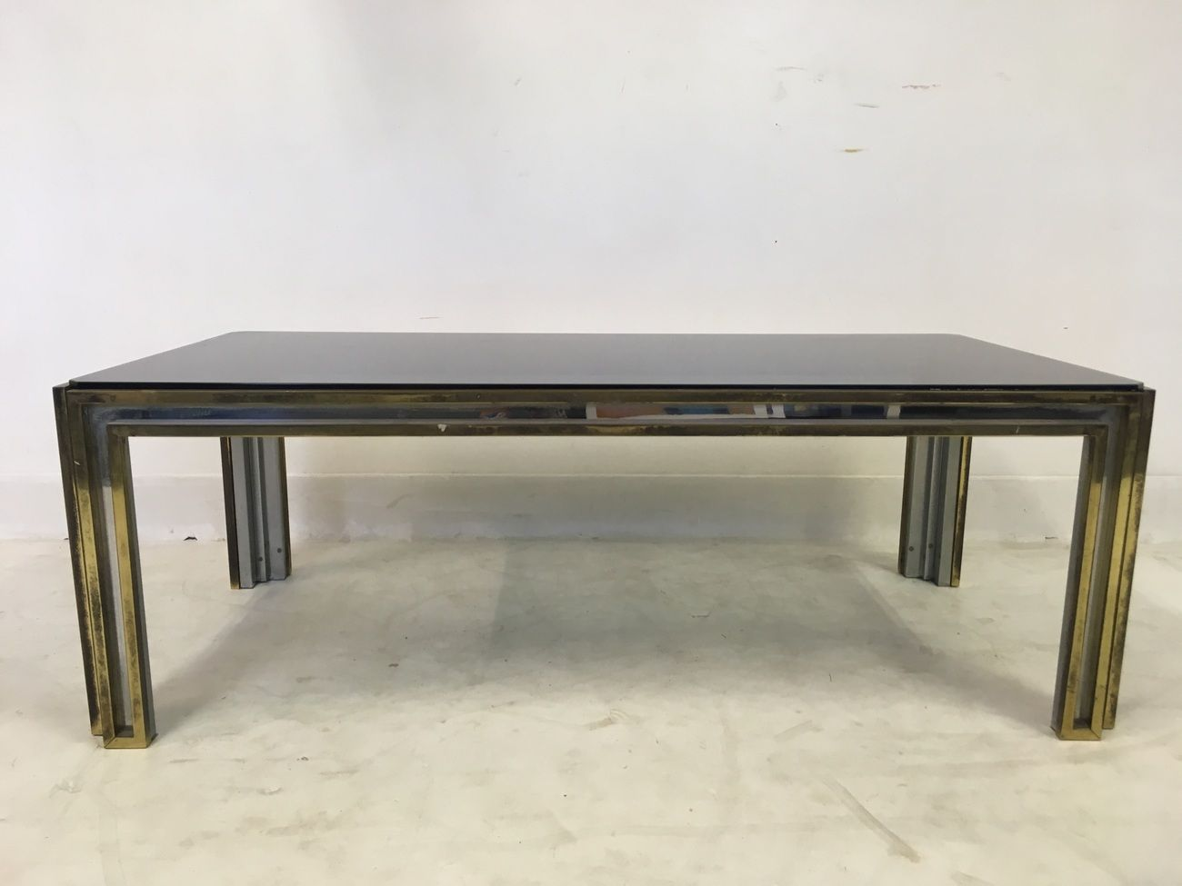 Vintage Italian Brass And Chrome Coffee Table For Sale At Pamono