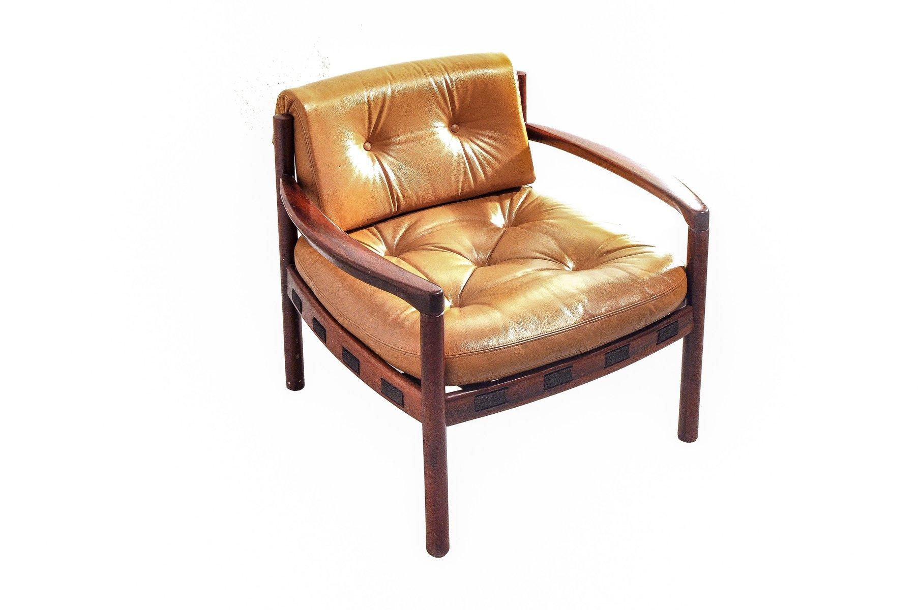 palisander leder armlehnstuhl von arne norell f r coja. Black Bedroom Furniture Sets. Home Design Ideas