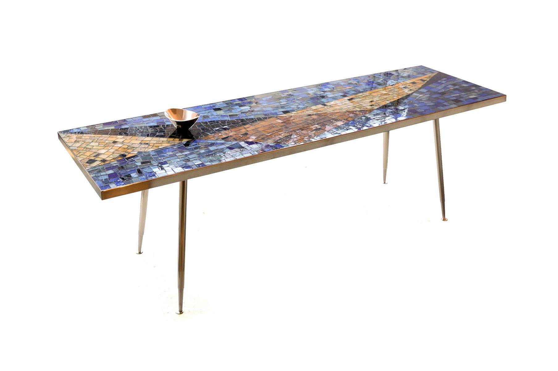 Table avec plateau en mosa que de verre italie 1960s en - Plateau de table en verre ...